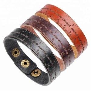 Multifunctional Ruler Leather Bracelet Men Vintage Wide Cuff Bangles Adjustable Buckle Wristband Male Bracelet Black&Brown