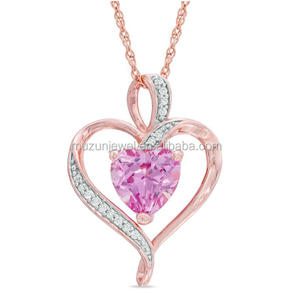 Rose Gold Plated Real 925 Sterling Silver Pink CZ Sapphire Heart Pendant Necklace