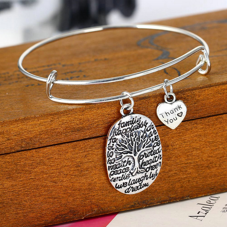 Popular Bangle Bracelets: Heart Pendant Charm Bracelet Women Men Jewelry Bangle Best
