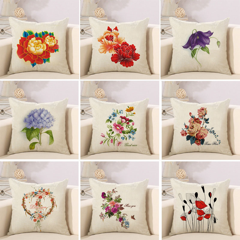 Astonishing Nature Flower Cotton Polyester Linen Pillow Case Sofa Couch Throw Cushion Cover Home Decor Pillows Covers Buy Leather Sofa Seat Cushion Creativecarmelina Interior Chair Design Creativecarmelinacom