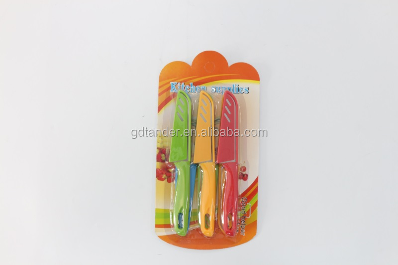 Mini and colorful 6pcs set kitchen gadget fruit knife paring knife for sale