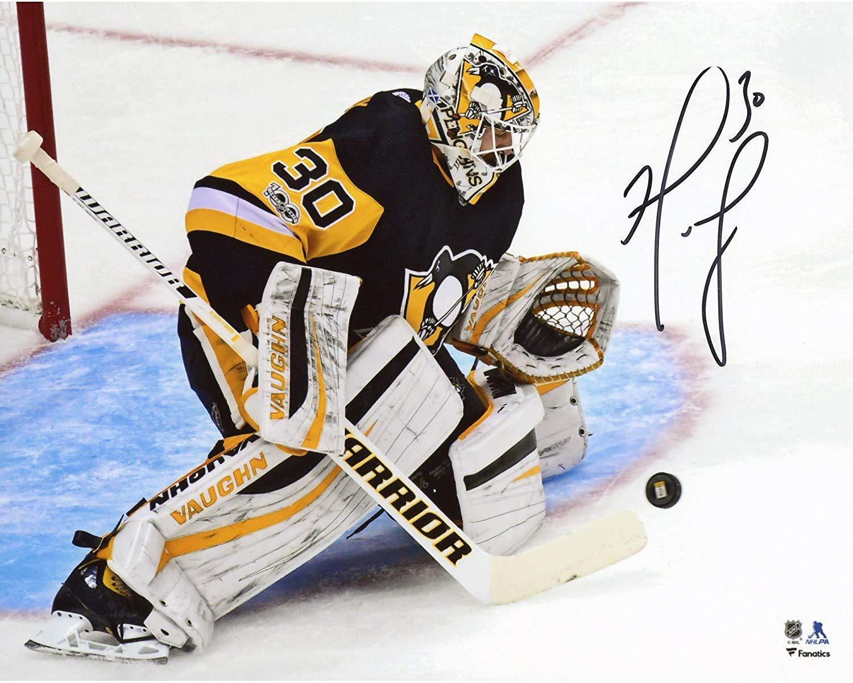 "Matt Murray Pittsburgh Penguins Autographed 8"" x 10"" Black Jersey Making Save Photograph - Fanatics Authentic Certified"