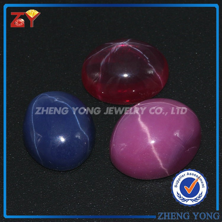 Blue color oval cabochon shape machine cut <strong>Natural</strong> star sapphire