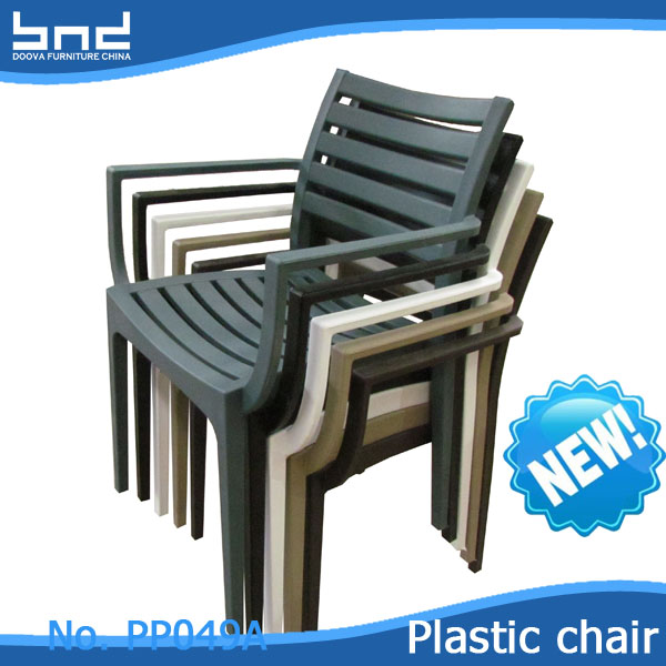 Restaurant stackable nordic plastic cafe chair with armrest PP049A