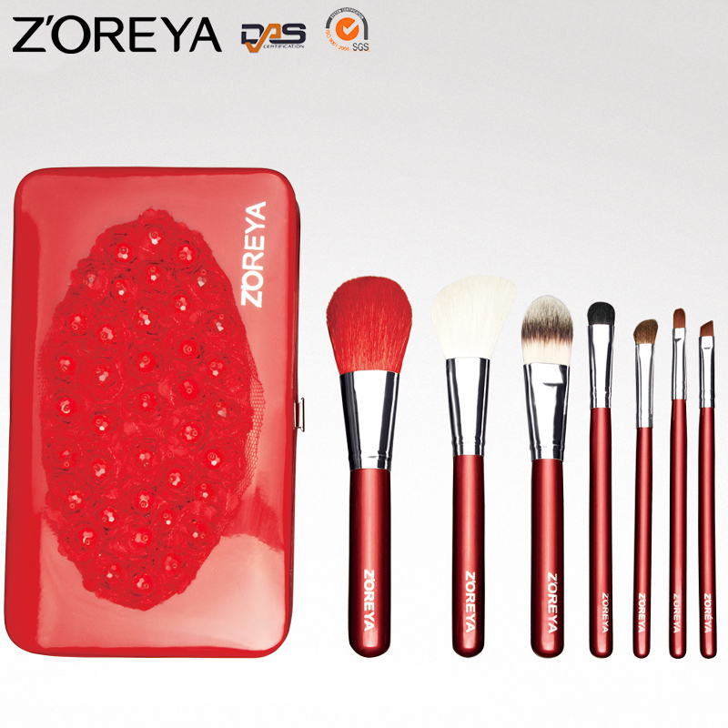 ZOREYA New Hot Selling OEM/ODM 7 pcs Animal Hair Wooden Handle Portable Makeup Brush Sets