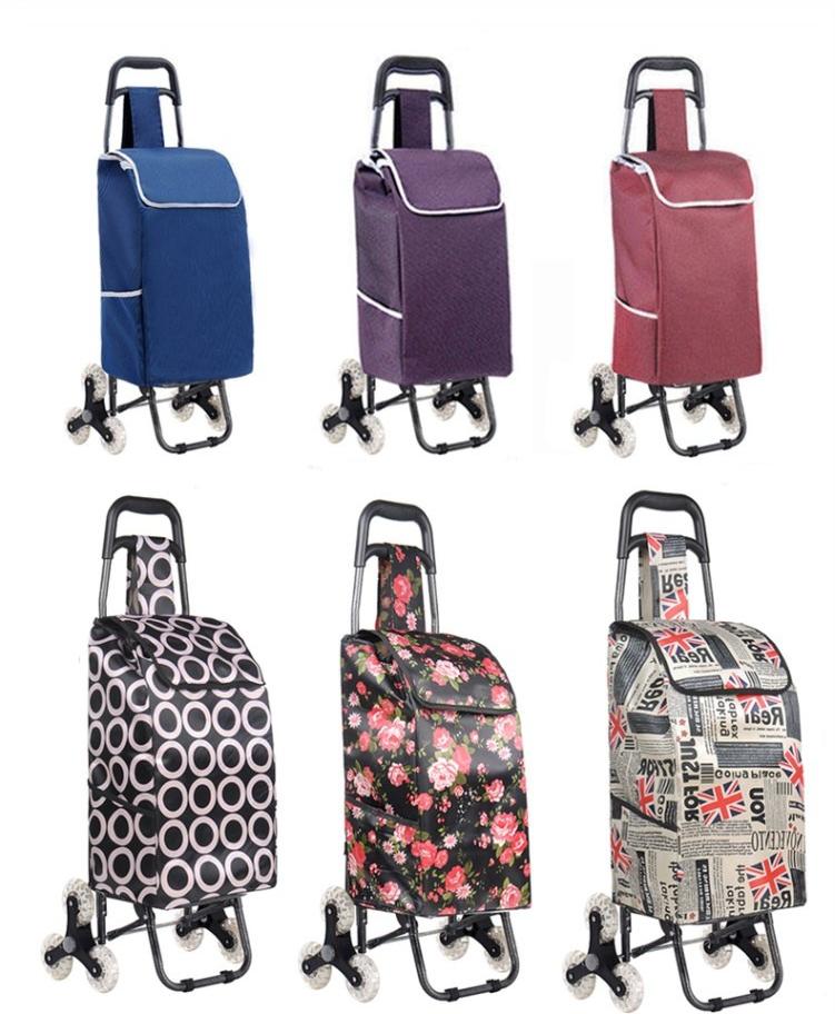 wholesale waterproof Oxford travel bag folding wheel custom logo printed shopping trolley bag for supermarket