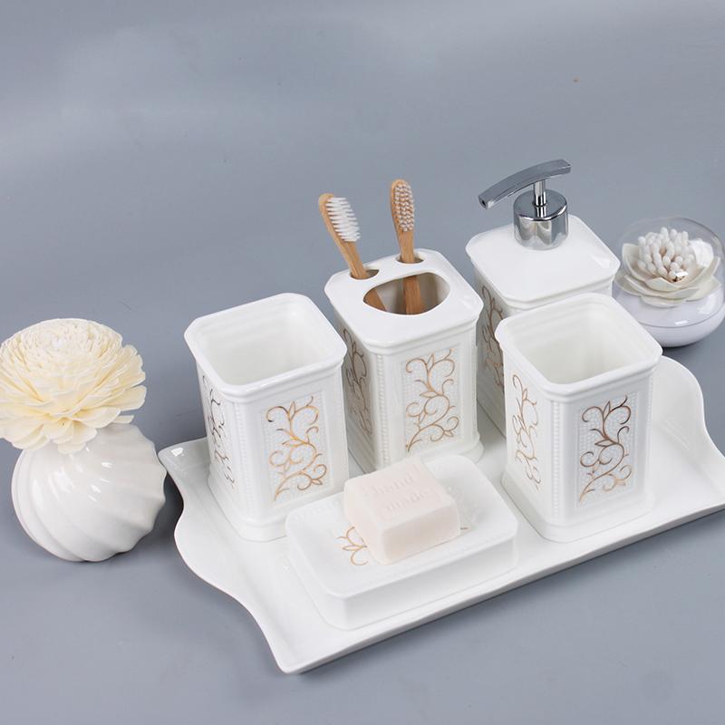 gold line luxury bathroom accessories set ceramic bathroom set view bathroom accessories. Black Bedroom Furniture Sets. Home Design Ideas