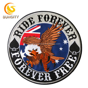 Big round patch with eagle logo ride forever iron on laser cut border embroidery patch