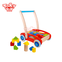 2019 Wooden Building Block Baby Walker Educational children toys