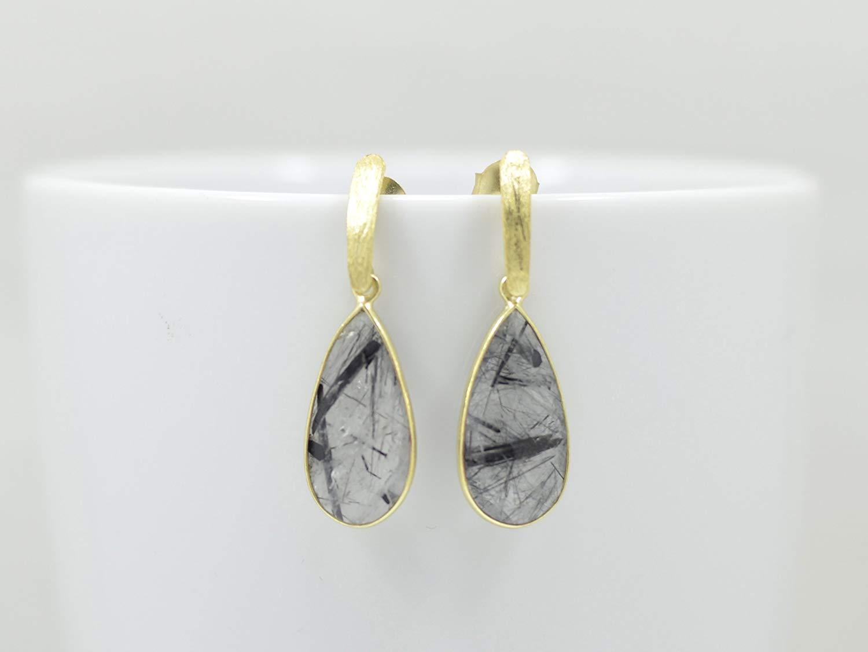 Black Rutile Quartz Earrings Gold, Teardrop Black Rutile Quartz Earrings Silver, Pear Drop Black Rutile Quartz Earrings, Black Gemstone Earrings