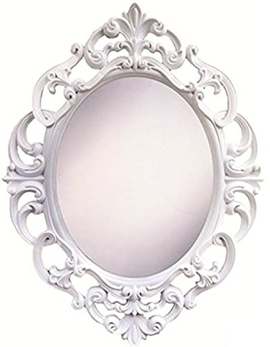Get Quotations Angel S Treasure 15 Inch Oval Wall Mounted Mirror Elegant Vintage Antique Style In Clic White