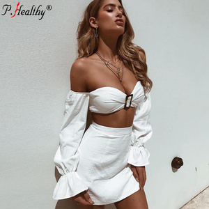 2018 Fashion sexy long sleeve metal buckle boob tube top pure colour suit holiday pencil dress