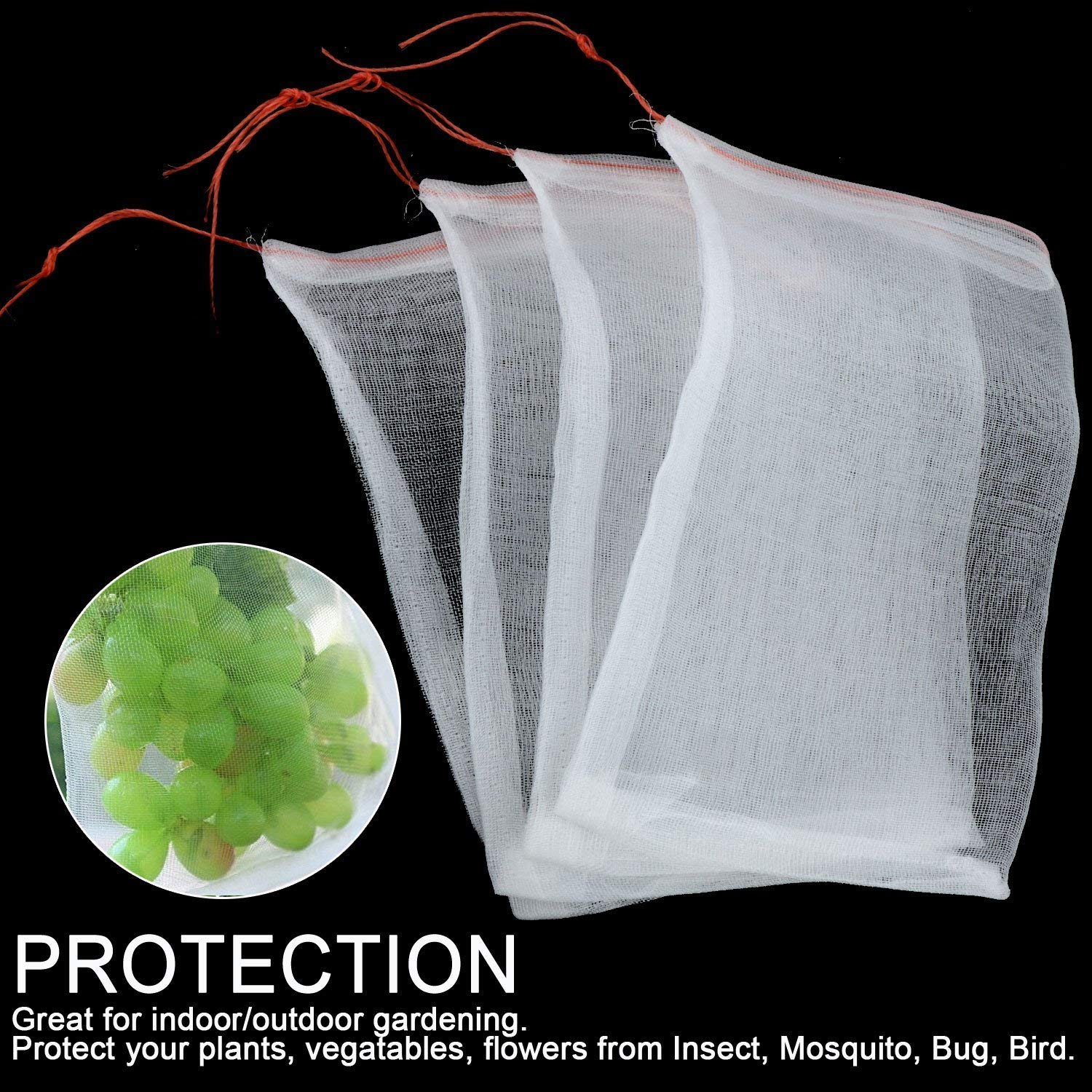 "Ecover Insect Netting Barrier Bag Bird Mosquito Net Garden Netting - Protect Plant/Flowers, 6"" x 4"", 10pcs"
