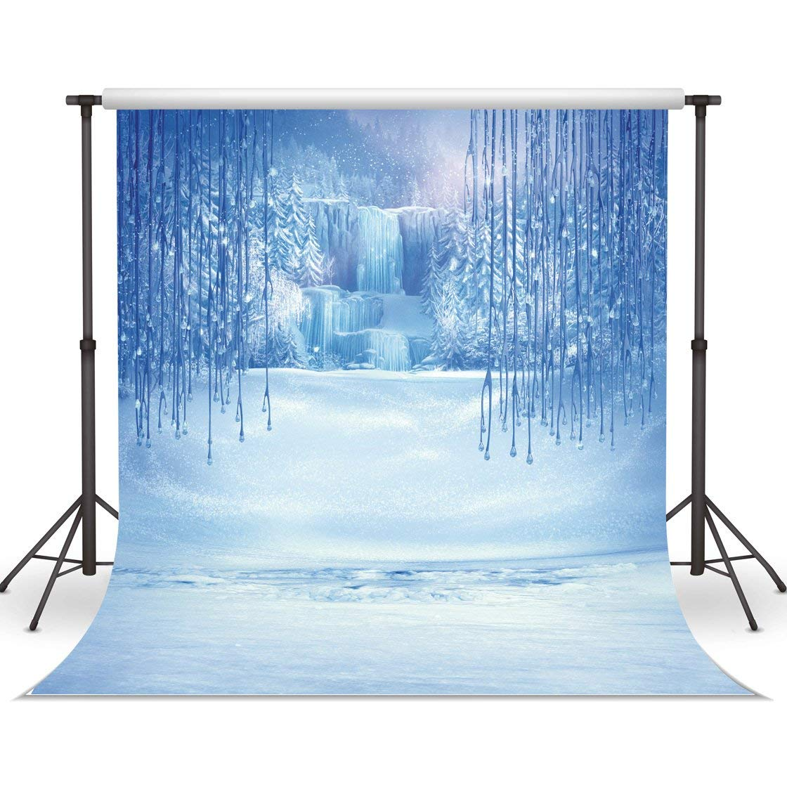 LYWYGG 5x7ft Ice and Snow White World Photography Backdrops Background Christmas Winter Frozen Snow Ice Crystal Pendant World Backdrops for Children Photo Studio Props Backdrop CP-13