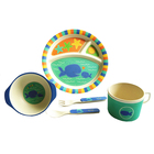 Cartoon Bamboo Fiber Children Sub Compartment Dish Water Cup Cartoon Fork Spoon Tableware 5 Sets