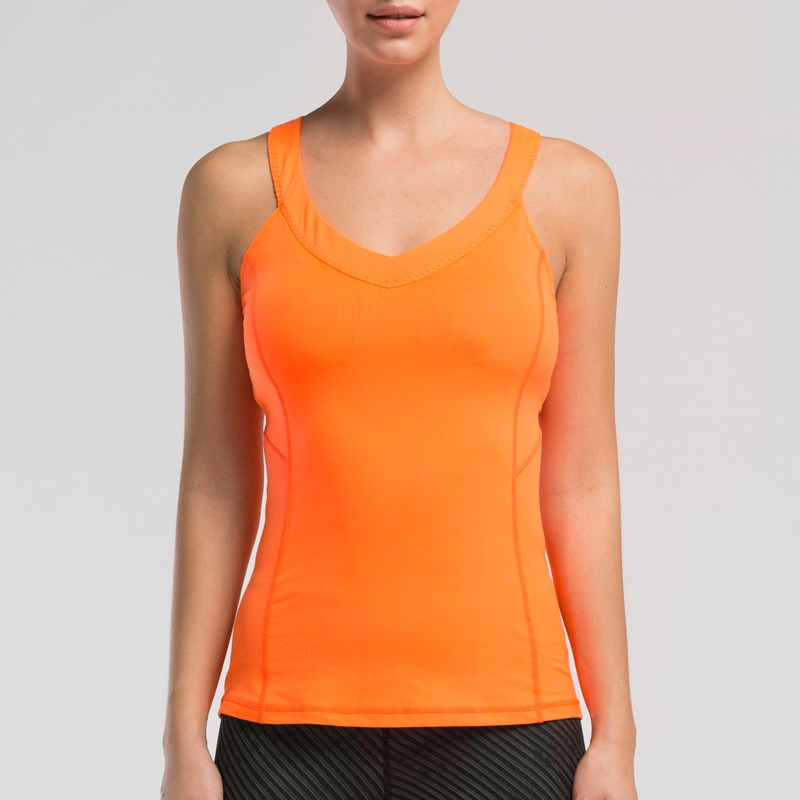 #WVEST008 Quick Dry High Quality Orange X Back Mesh Fitness Sport Yoga Vest Top Tank
