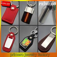 Custom Blank New Fashion Silver Leather Keychain Men Llavero Car Key Rings
