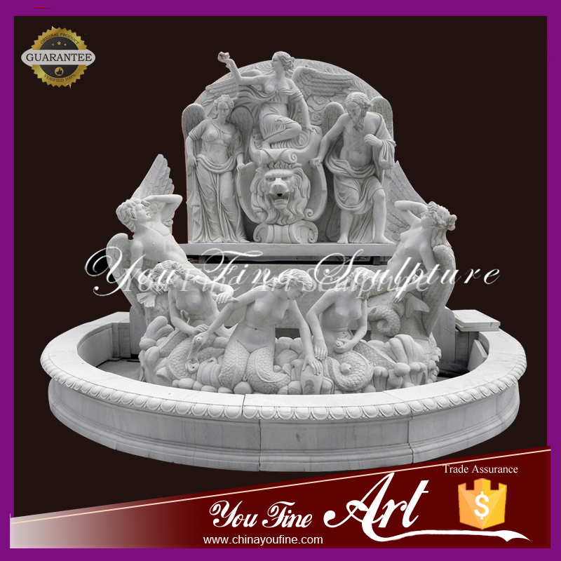 Outdoor beautiful Garden fountain with lion and angel sculpture
