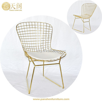 Awesome Replica Modern Furniture Gold Electroplated Wire Harry Bertoia Dining Chair With Seat Cushion Buy Wire Bertoia Dining Chair Harry Bertoia Dining Creativecarmelina Interior Chair Design Creativecarmelinacom