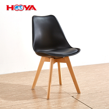 Black Mid Century Modern Wood Leg Dining Chairs Upholstered Side Chair
