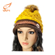 High quality beanies acrylic puffball winter women knitted hat with tassel