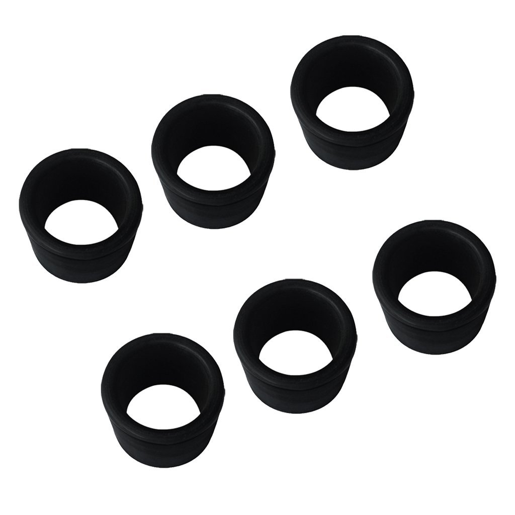 Dovewill 6 Pieces Black Rubber 2'' 50.8mm Rod Holder Insert Protectors for Marine Boat Fishing Bait Board Stainless Steel Rod Holder