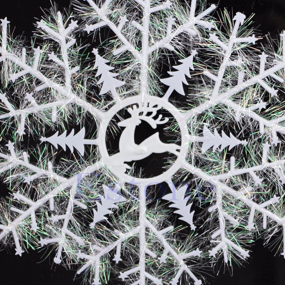 Classic 3Pcs 24-34cm White Snowflake Ornament Christmas Holiday Party Home Decor