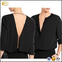 2017 NEW OEM New Arrival Women Long Sleeve Sexy Deep V Neck Chiffon Blouse Back Open Solid Color Formal Black blouse