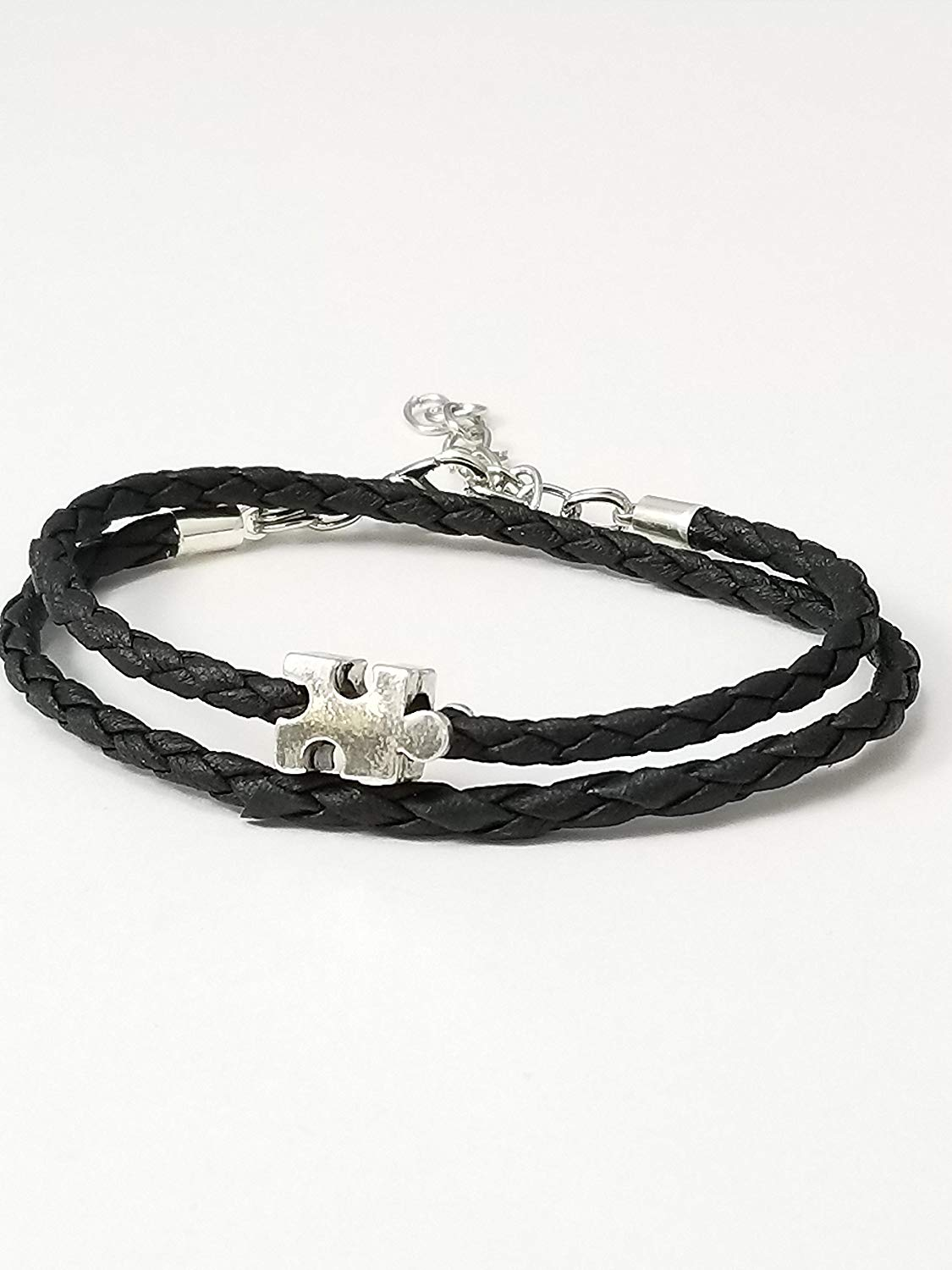 Autism Awareness Wrap Bracelet Black Braided Leather Puzzle Piece Bead Adjustable 6-8 Inches Gifts For Mom Teacher Friends And Family.
