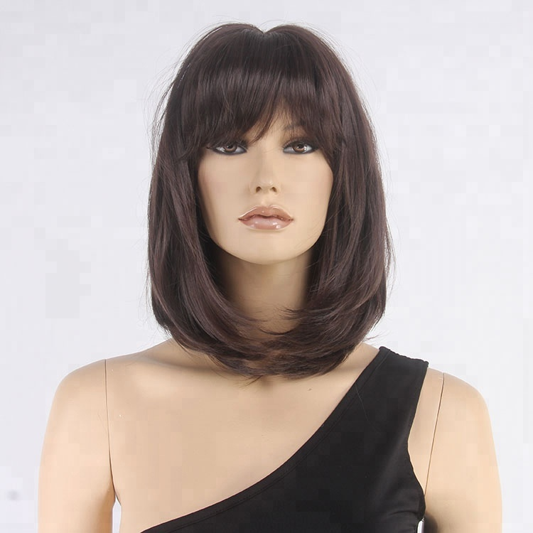 Chocolate Brown Sexy Messy Layered Bob Hair Wig With Bangs - Buy ... 9206efc830c0