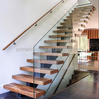 Strong Acacia Wood Steps Staircase Stainless Steel Railing Stair Design