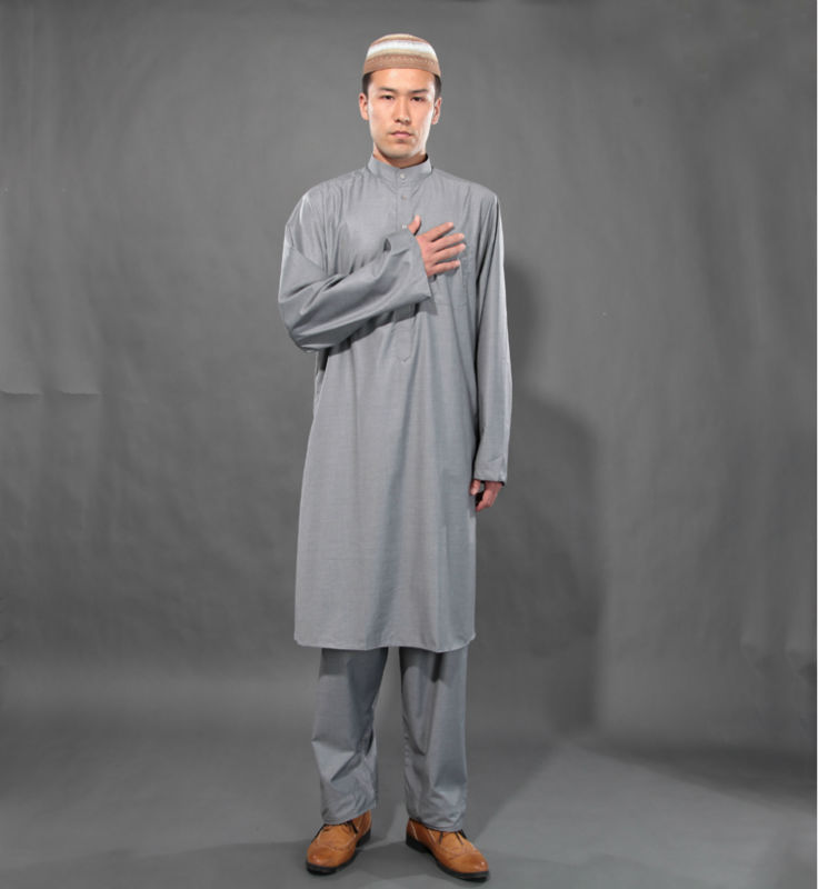 b24d13a30f 2014 New Arrival Gray Islamic Arabic Clothing set for Men Black ...
