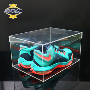 JINBAO factory custom fashionable plexiglass shoes box with lid acrylic nike shoes box clear acrylic sneaker box