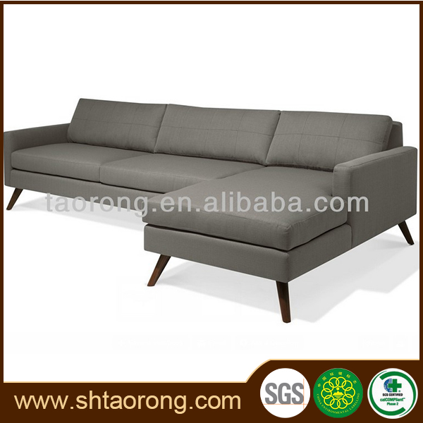 Hotel lobby modern wood set designs L shaped sofa for sale