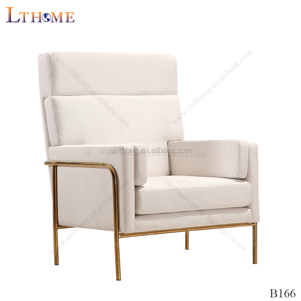 B29 High back fabric home armchair polished steel frame