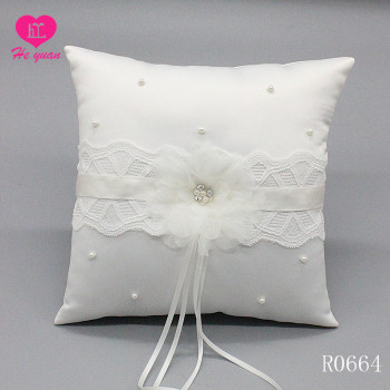 R0664 Elegant White Wedding Pillow Ring with Graceful Buckle