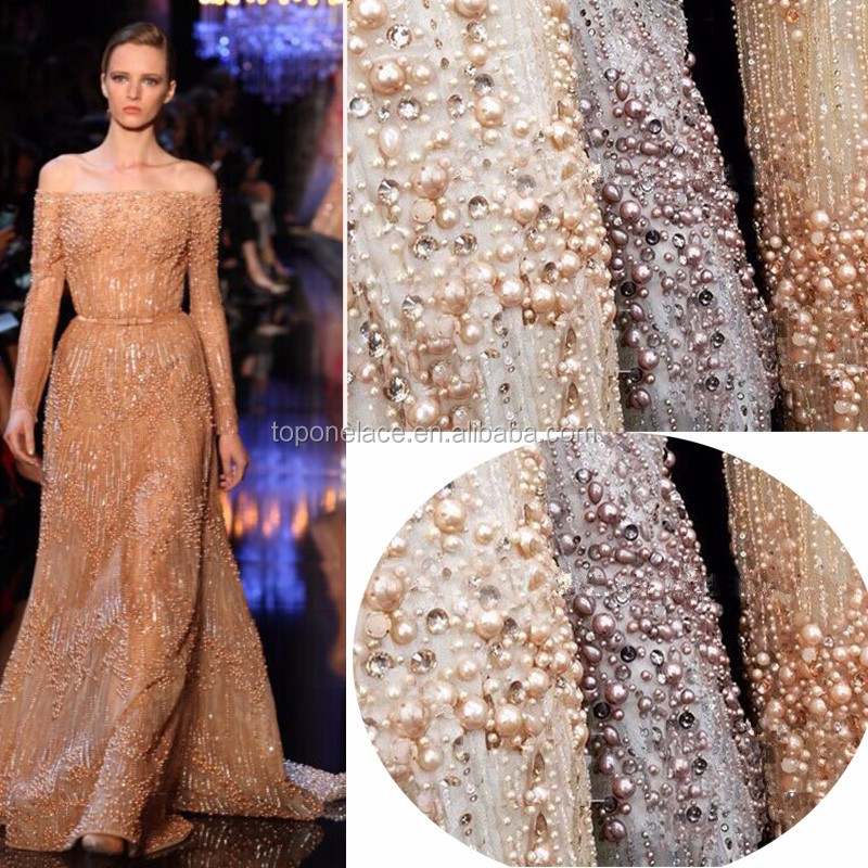 Fashion beaded handwork french lace Floral Embroidered 3D net bridal fabrics