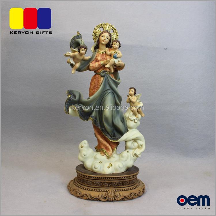 cc03d74ac8b Personalizada de fábrica de resina Mary estatuas con Ángel Bebé al por  mayor religiosa figuras