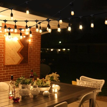 Worbest 48ft Outdoor Light String E26 S14 Edison Bulb Included Christmas Waterproof Connectable Led