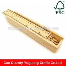 Yuguang Crafts High Quality Cheap Small Wooden Pencil Box with ruler on lid