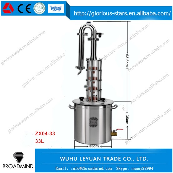 LX2171 ZX04-33 33Liter/9 US GAL distiller brewing equipment for distiller alcohol