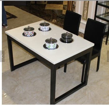 Artificial Stone Hot Pot Tables For Commercial Restaurant Marble Dining Set Dinner Table With Chairs