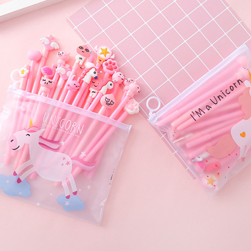 20 pcs Hot selling cartoon cute gel pen set kawaii stationery korean for kids