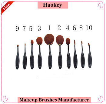 Full Black 10Pcs Oval Makeup Brush For Makeup Studio Tooth Brush Foundation Make Up Set