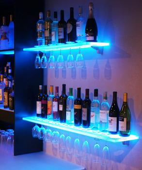 Wandplank Met Led Verlichting.Led Verlichting Acryl Plank Voor Wijn En Glaswerk Organiseren En Display Met Wifi Mobiele App Gecontroleerde Rgbw Led Licht Systeem Buy Wandmontage