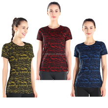 custom sublimation printed sport t shirt 90% polyester 10% spandex women sportswear