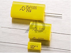 axial yellow metallized polyester film capacitors