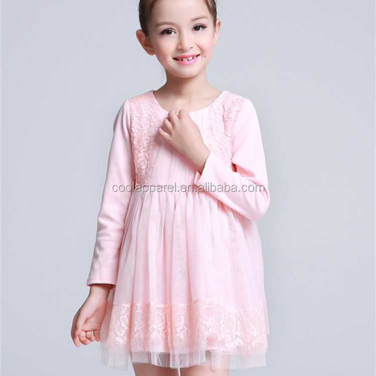 long sleeve 100%cotton boutique lovely autumn girls lace flowergirl dress