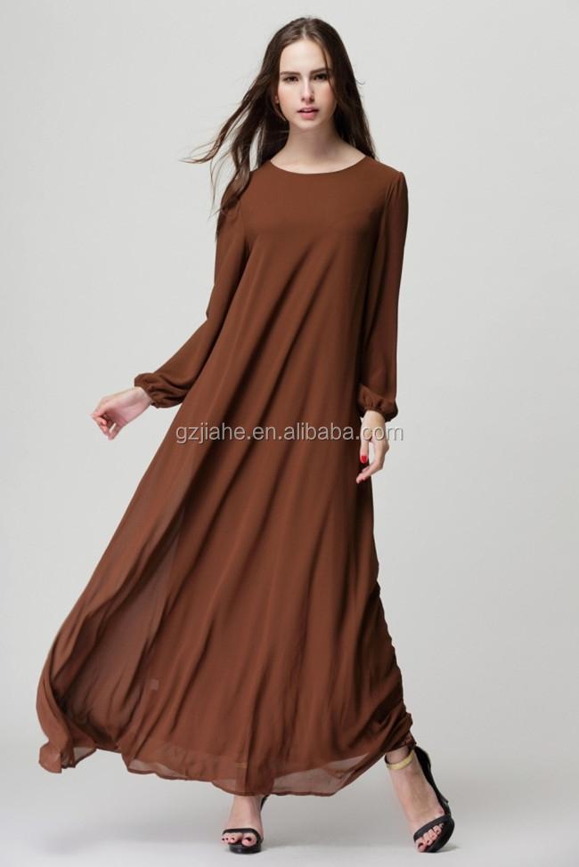 c9be1f9e1 جديد أزياء سيدة بسيطة طويلة الأكمام الشيفون فساتين خريف شتاء عادي لون مربوط  ماكسي فساتين طويلة