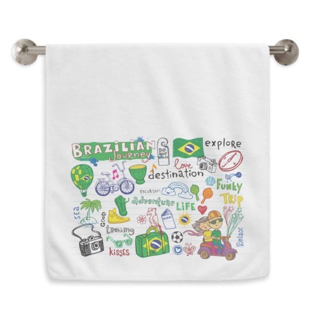 DIYthinker Adventure Life Brazil Journey Brazil Circlet White Towels Soft Towel Washcloth 13x29 Inch